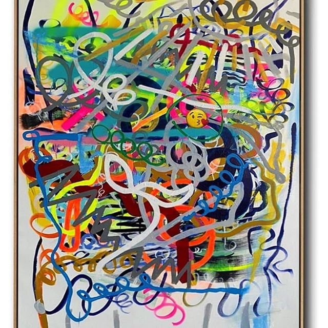 """""""Social"""" - 100/146 cm Premium collection. One of a kind. #ronderiart #abstractpainting #abstract_art #artstudio #colorfulpaintings #emojiart #art"""