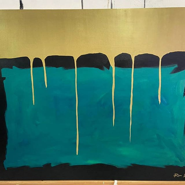 'Golden Crown' - Oil on canvas Minimalism abstract