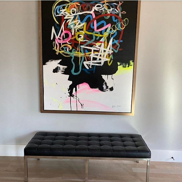 #ronderiartinyourhome  really beautiful photo that my customer shared with me. I loved that she framed my artwork with thick gold frame, it makes it really powerful. Artwork name: Human Brain Part of my modern line collection #abstractart #art #explorepage #colorfulpaintings #contemporaryart #artlovers #artcontemporary