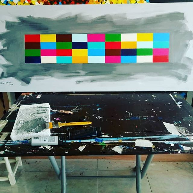Recreation 'Pop' abstract painting on canvas
