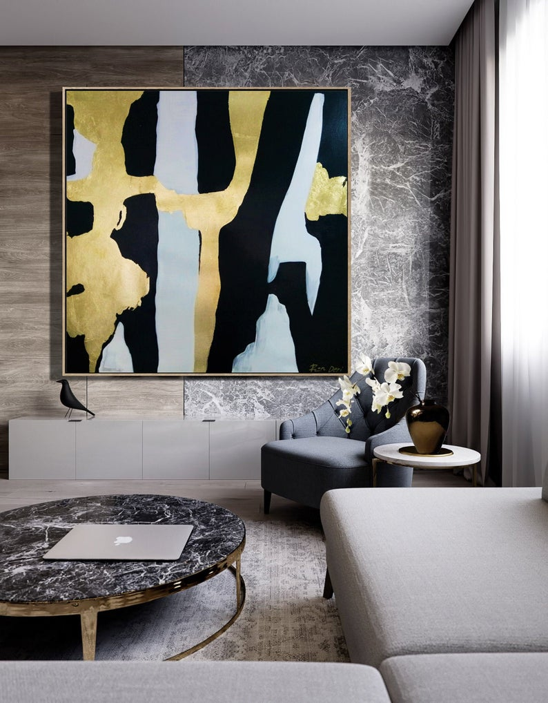 """""""Ethereal Streaks"""" Black and gold square abstract art by Ron Deri"""