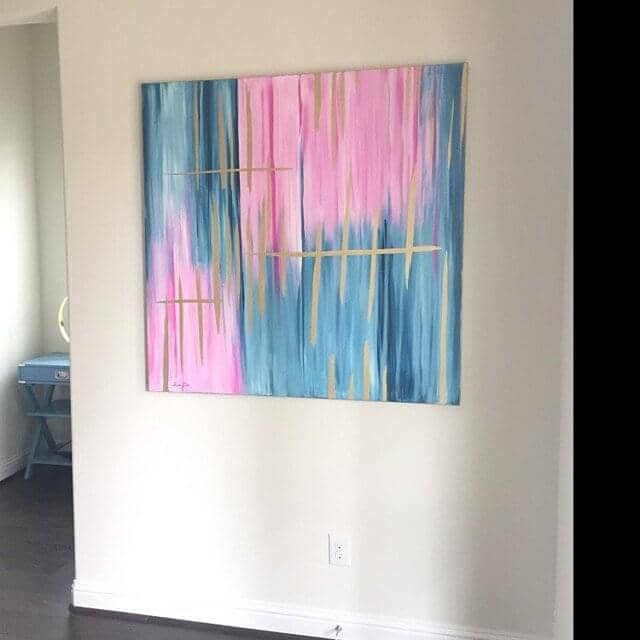 blue pink abstract painting ron deri