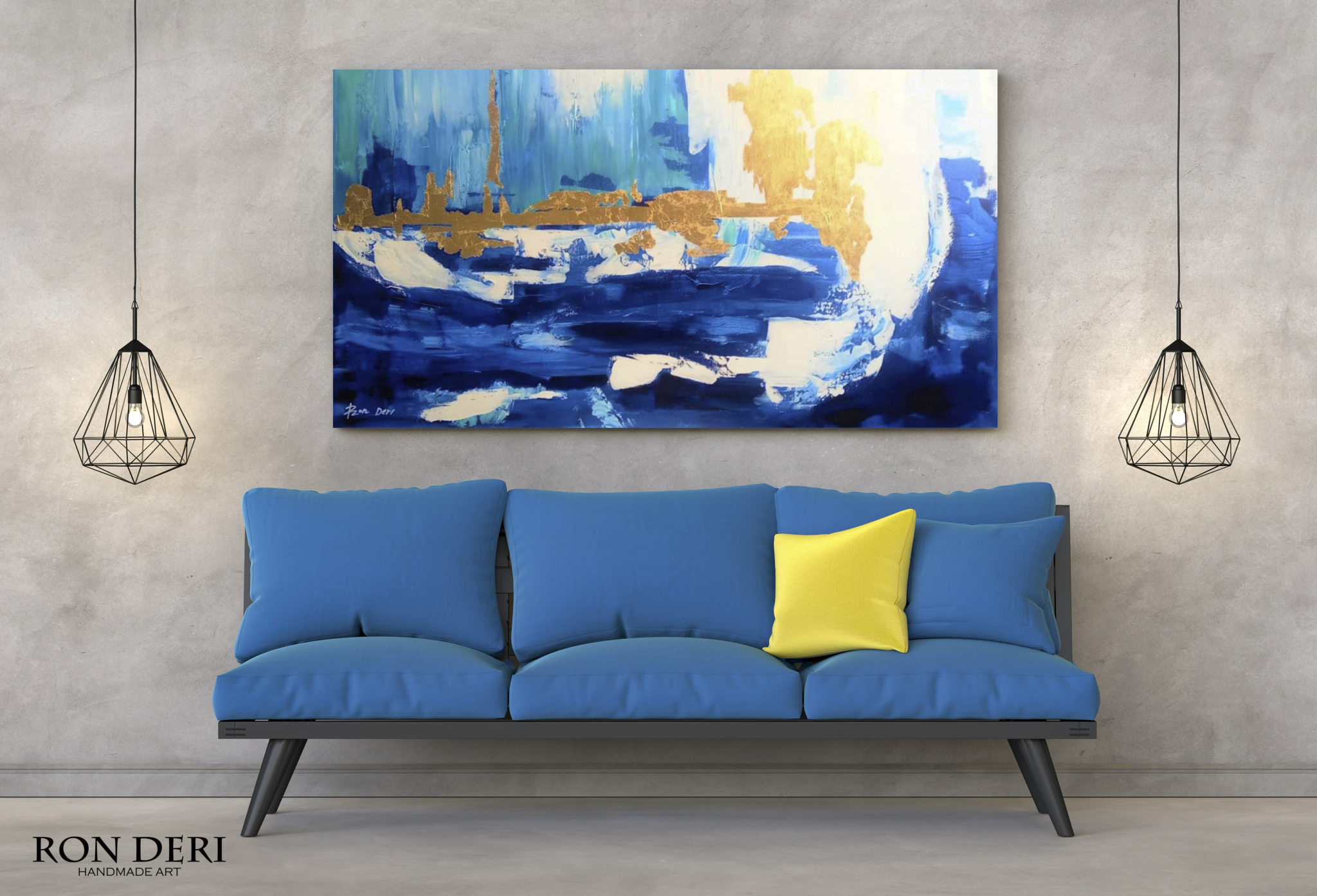 blue-skyline-painting-abstract-gold-art-canvas-wall-ron-deri