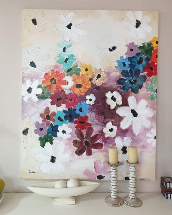 white flowers painting abstract art by ron deri