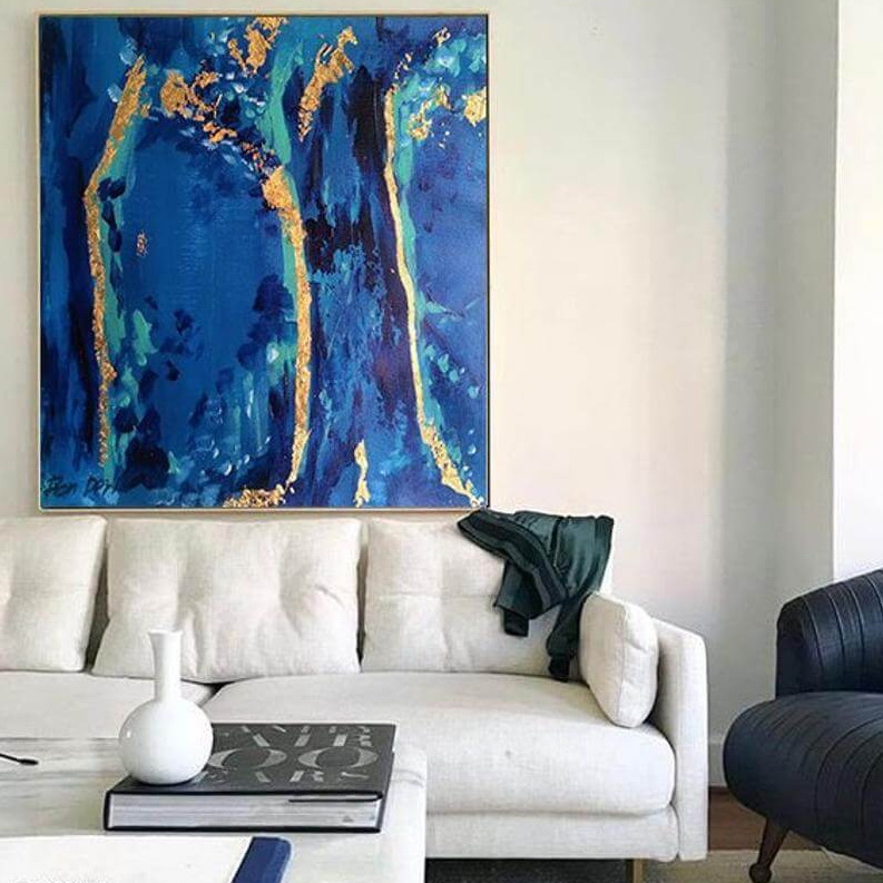 forest abstract blue gold painting acrylic by ron deri 3