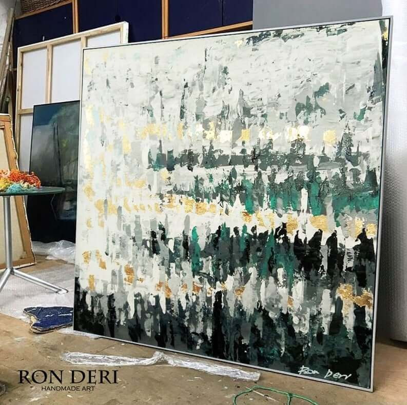 forest painting abstract green and gold by ron deri art 7