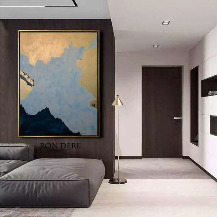 genesis gold large abstract painting by ron deri