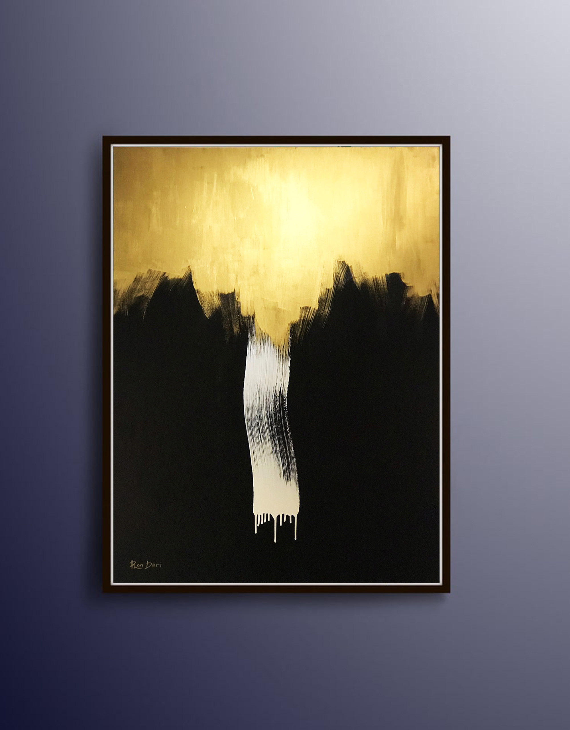 """""""Infinity Waterfall"""" - Black and gold abstract painting by Ron Deri"""