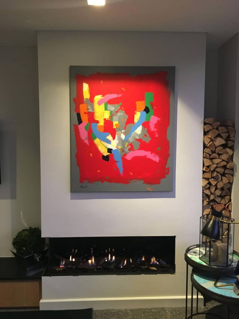 large red painting abstract ron deri