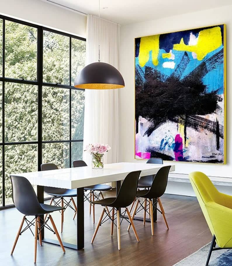 New York Style - Black and colorful abstact art by Ron Deri