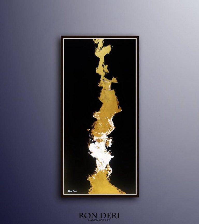 vertical-lightning-art-painting-black-gold
