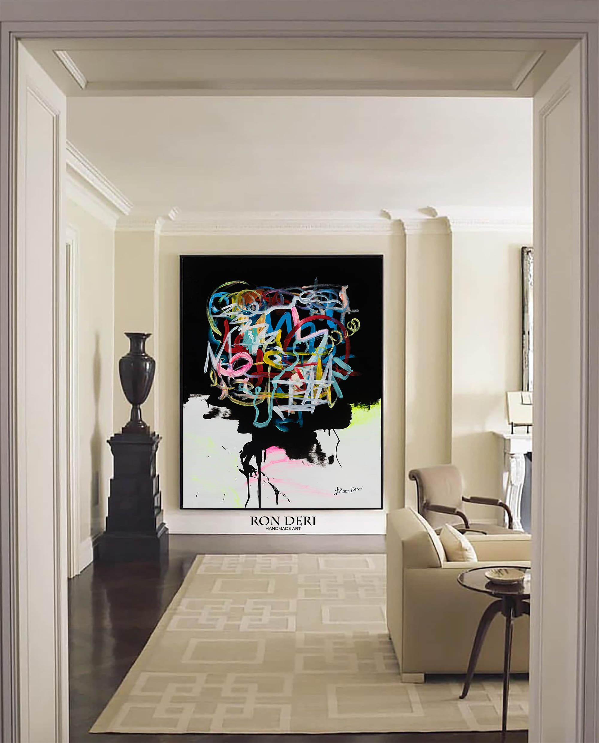 Large black abstract line wall art on canvas