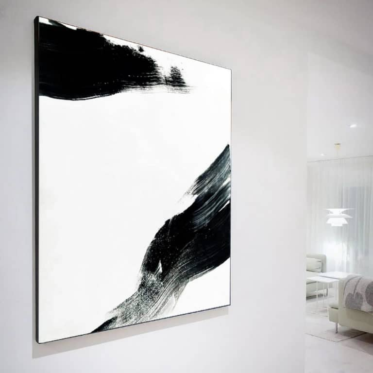 """Minimalism"" - Black and white abstract artwork on canvas by Ron Deri"