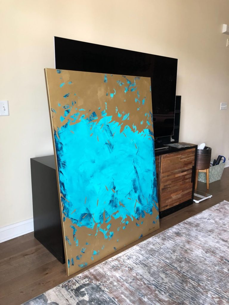 gold blue mint painting abstract by ron deri