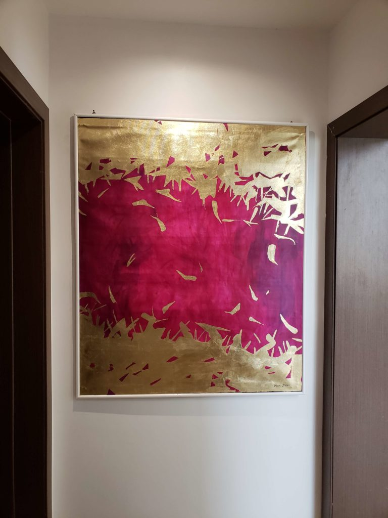 purple painting gold leaf abstract