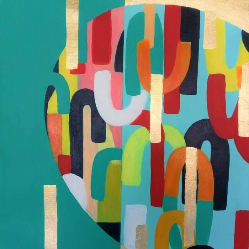 painting gold mint abstract