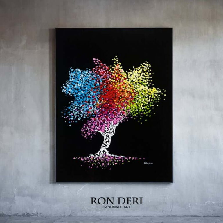 Nature abstract painting for sale, Tree of life, Wall art on canvas, by Ron Deri