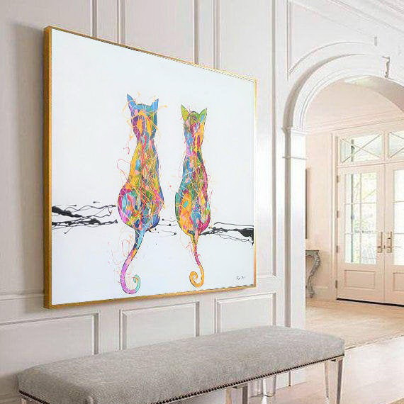 two cats painting art by ron deri