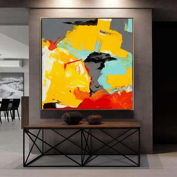 yellow abstract painting by ron deri2