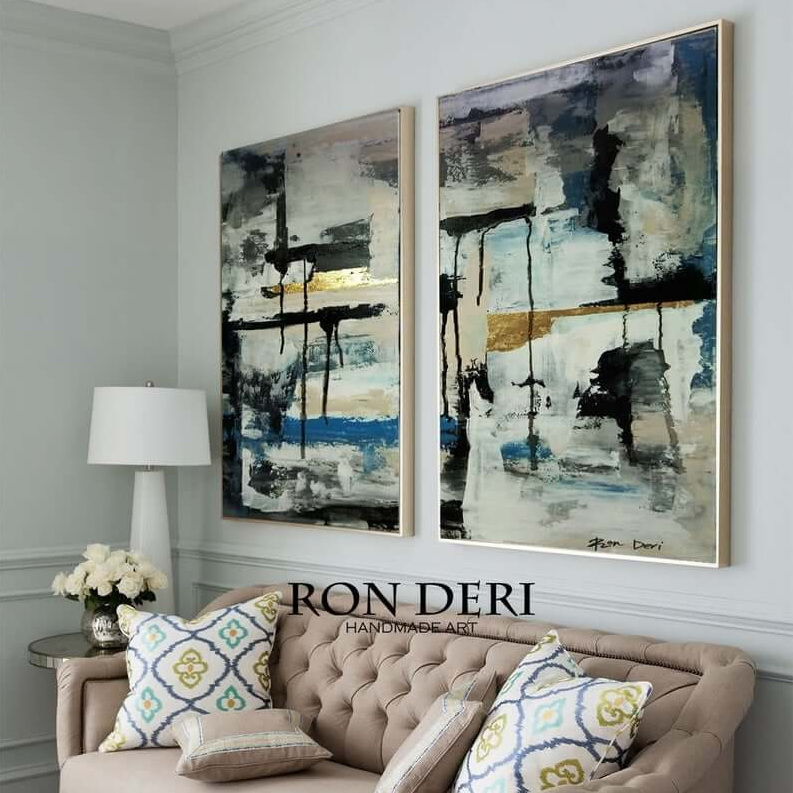 Role exchange set of two paintings abstract by ron deri gold gray (2)