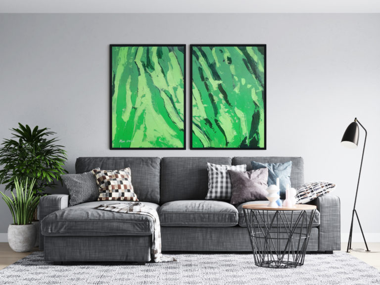 black-green-two-paintings-set-abstract-ron-deri