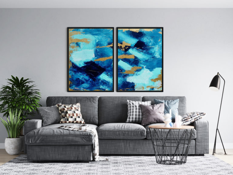 blue-abstract-paintings-gold-art-ron-deri