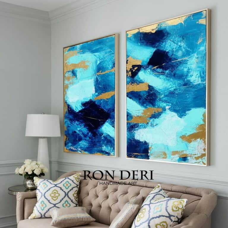blue gold abstract two paintings set by ron deri