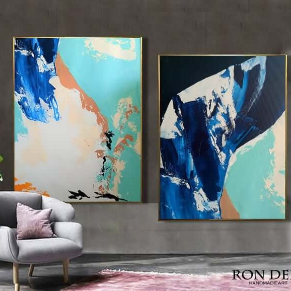 blue set of 2 paintings abstract art by ron deri