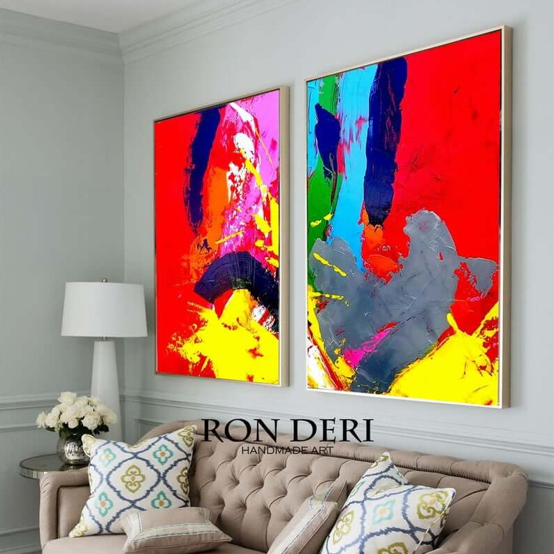 colorful red yellow painting abstract by ron deri (2)
