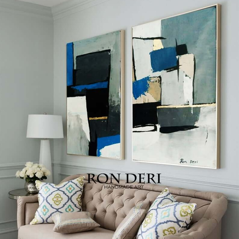 gray abstract art painting set of 2 by ron deri 2
