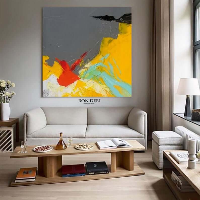gray yellow abstract painting art by ron deri