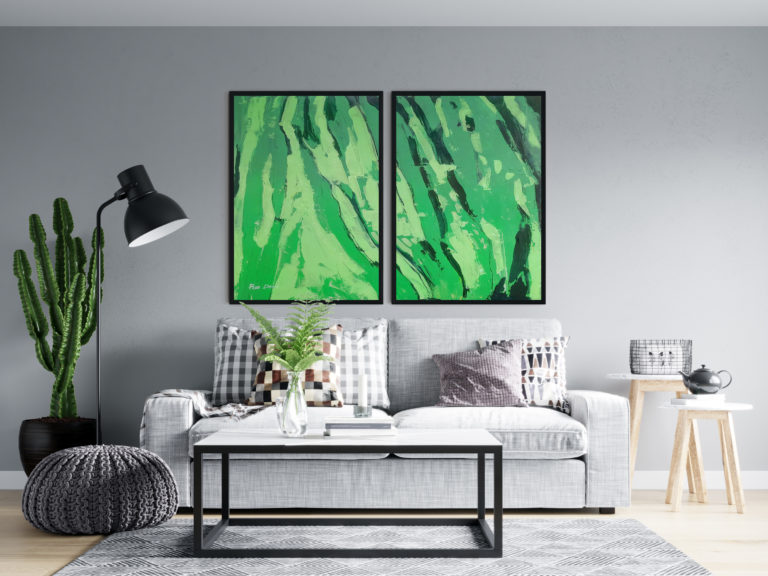 green-two-paintings-set-abstract-ron-deri