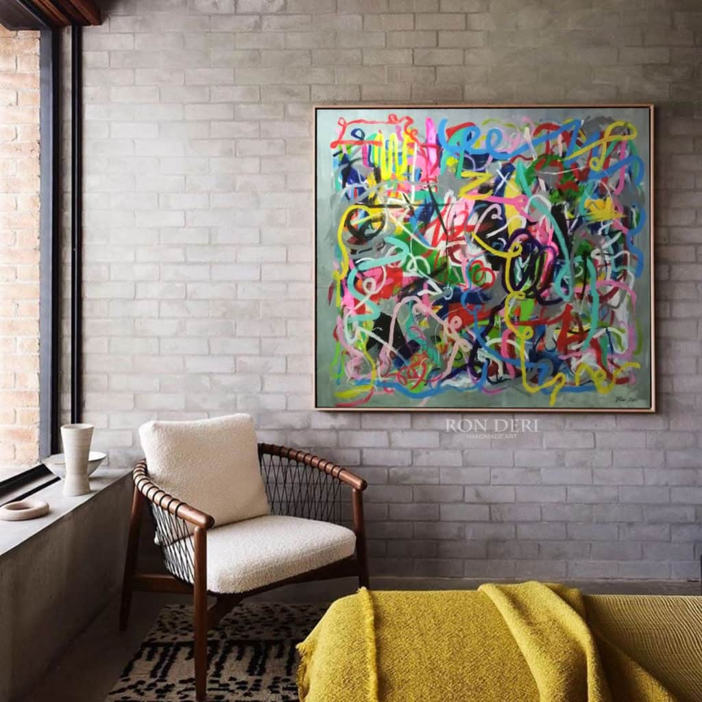 painting abstract art on canvas by ron deri
