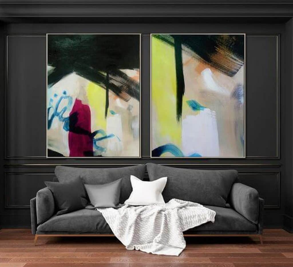 painting set of 2 abstract art by ron deri 3