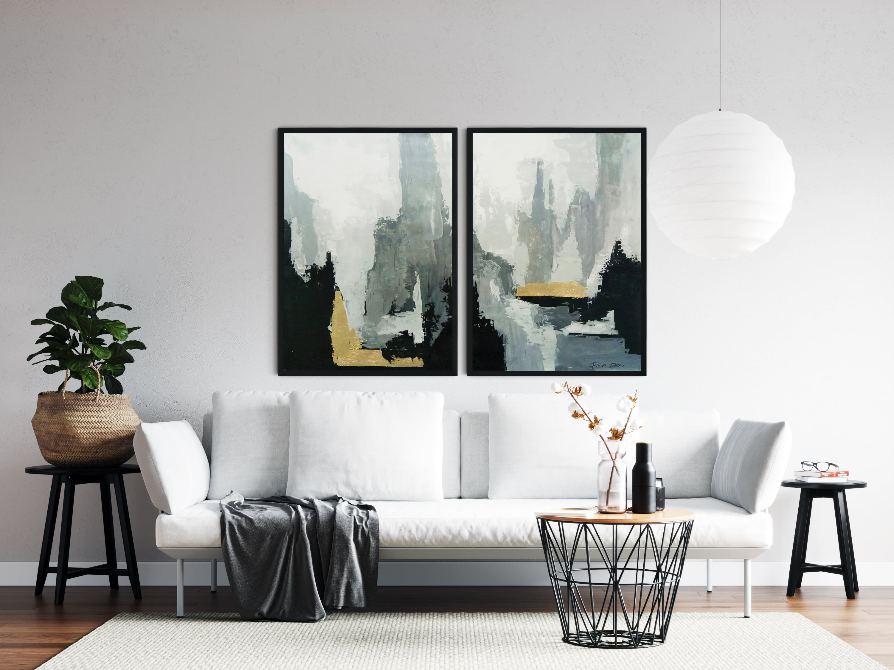 """""""Phases"""" - a set of 2 black abstract paintings by Ron Deri"""