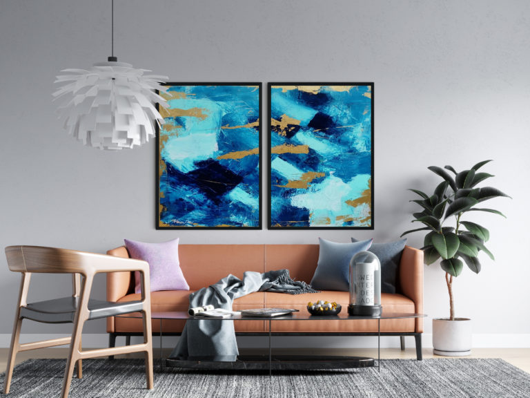 two-paintings-blue-gold-abstract-art-ron-deri