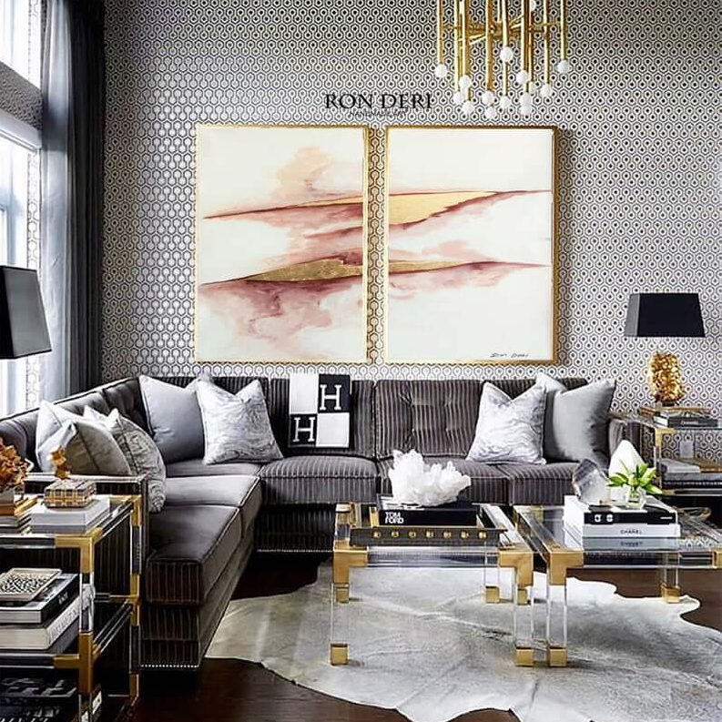 white gold leaf painting set of 2 by ron deri art (2)