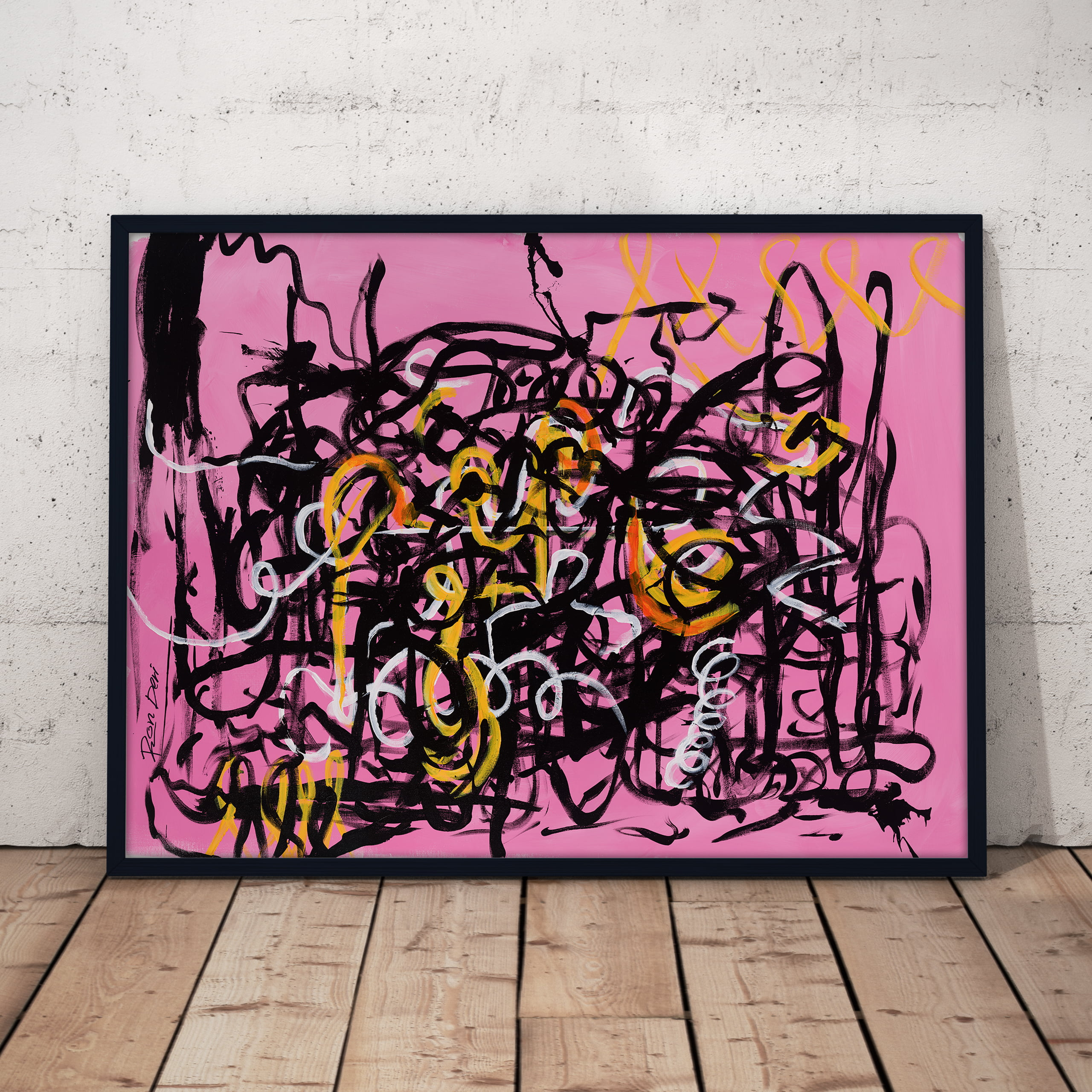 chaos 2 ii - pink and black abstract art print by ron deri