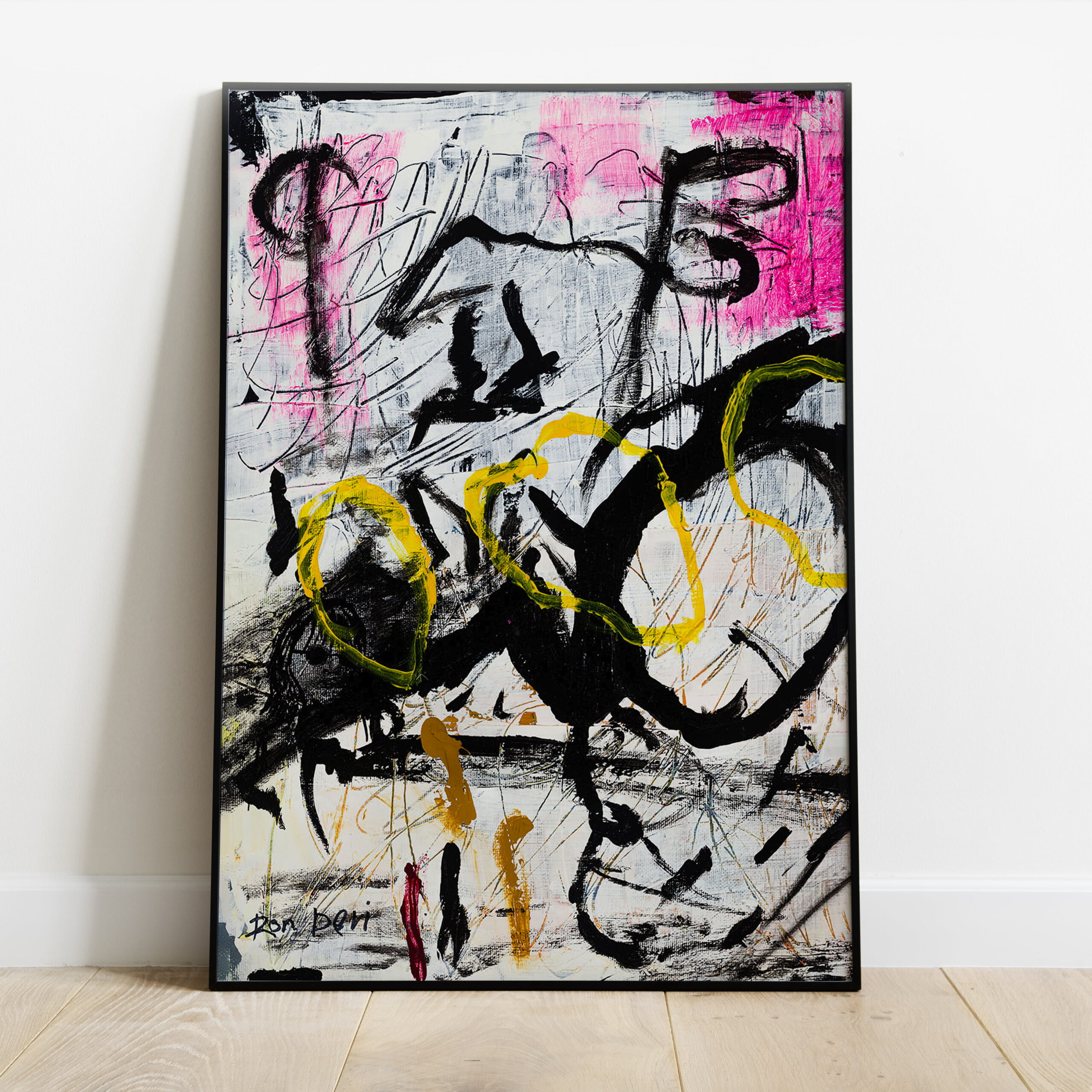 abstract art print pink yellow white black - chaos