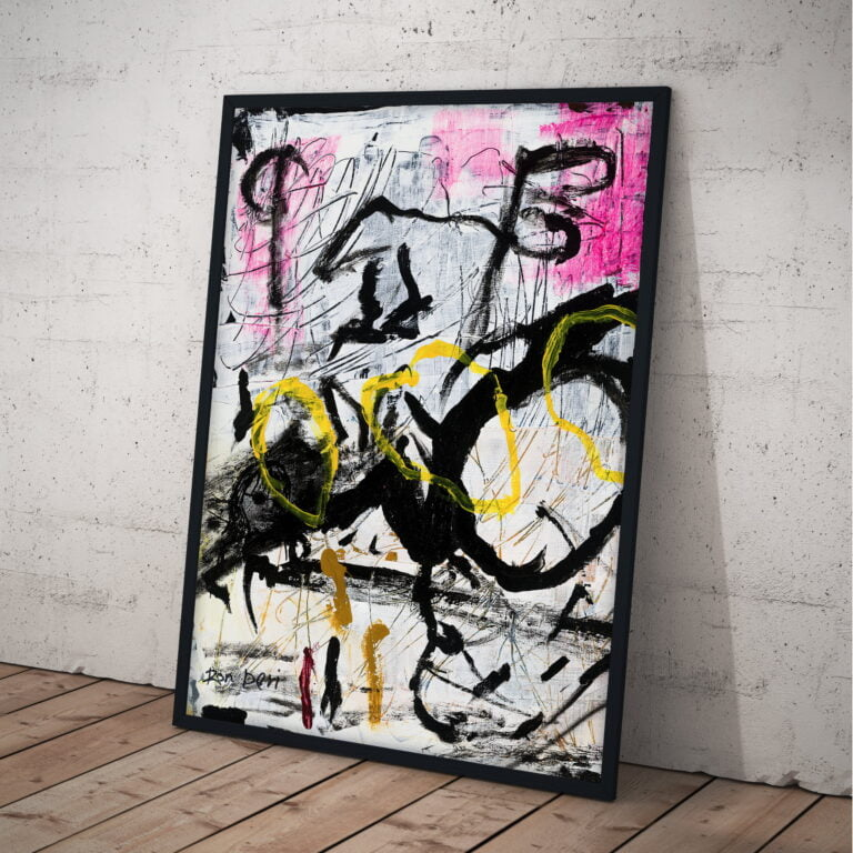 chaos black white pink yellow abstract art print by ron deri