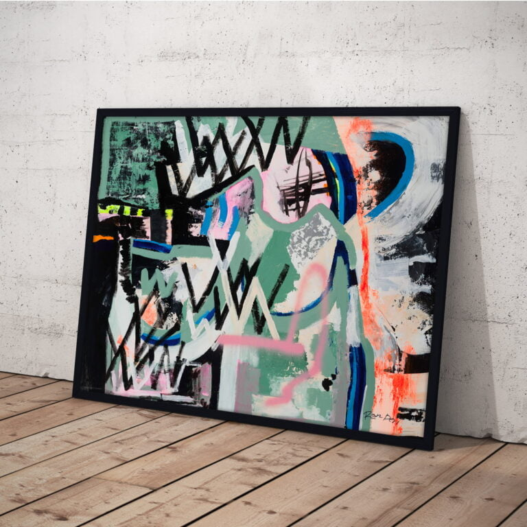 crazy colurful lines abstract art print