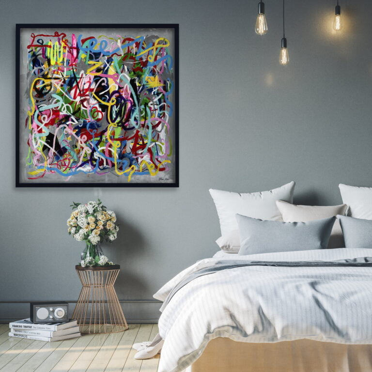 crazy chaotic colorful abstract line painting by ron deri