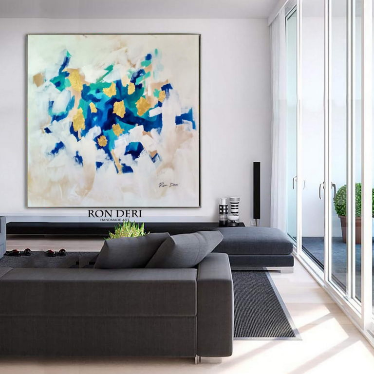 gold blue painting on canvas