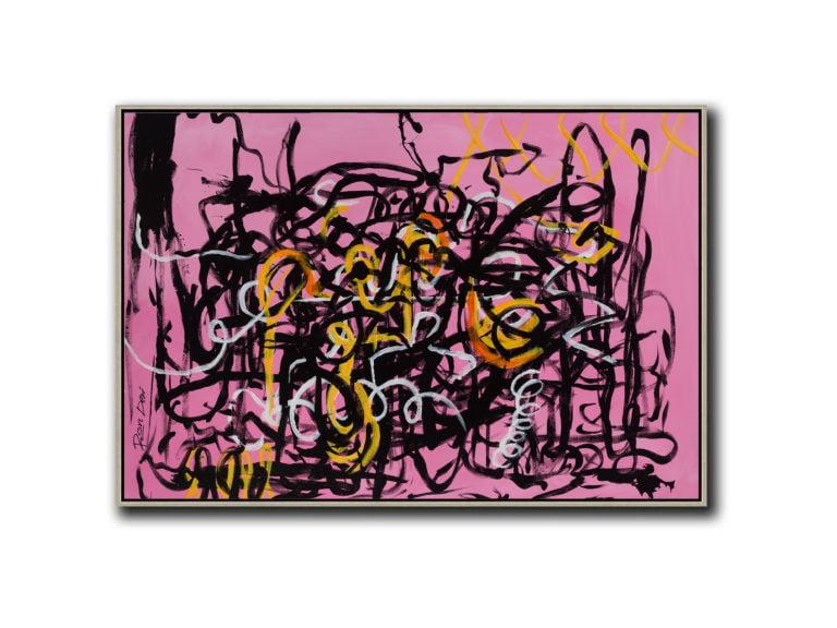 pink-modern-black-abstract-art-on-canvas-ron-deri