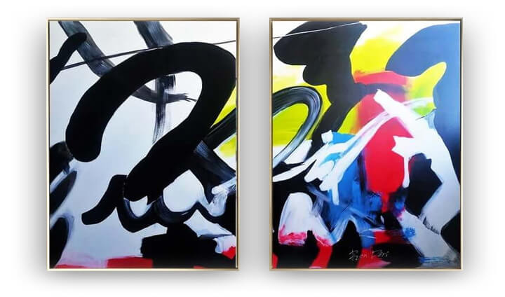 Graffiti - abstract art set of 2 paintings by Ron Deri