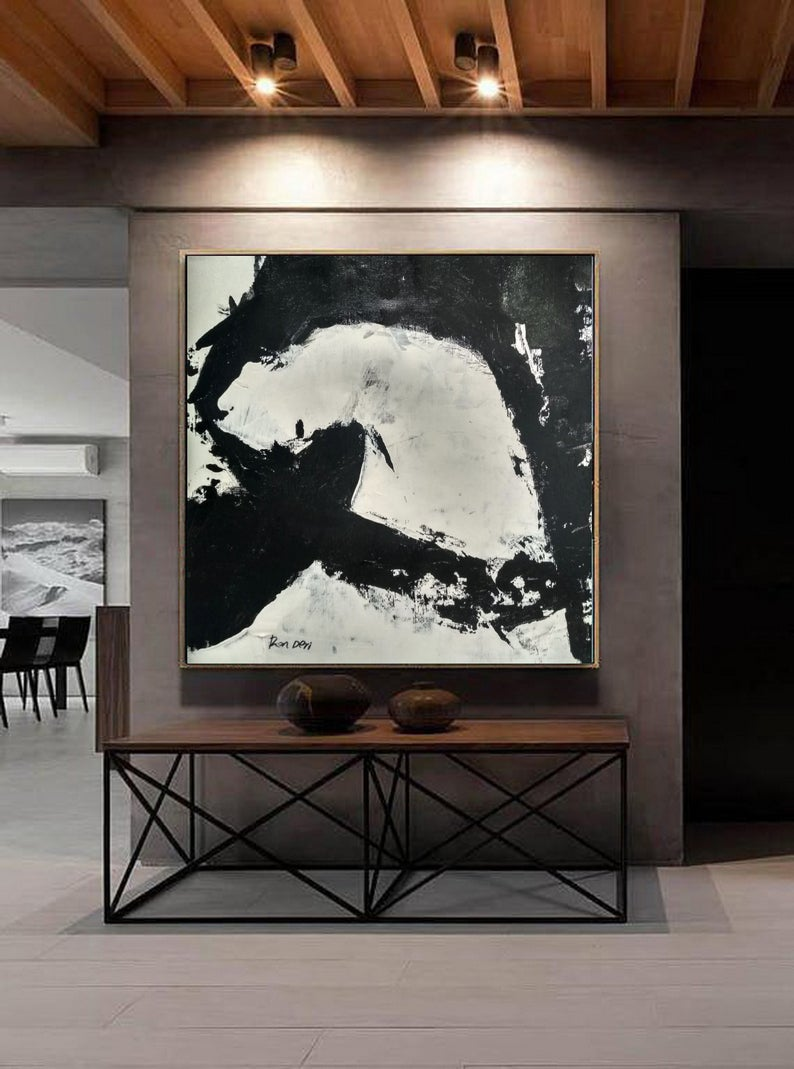 Black and white abstract painting, oil and acrylic on canvas. wall art for sale