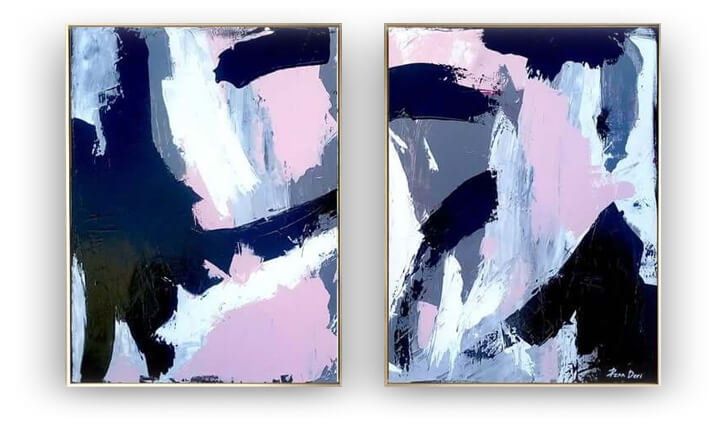 Black abstract painting - Set of 2 - by Ron Deri