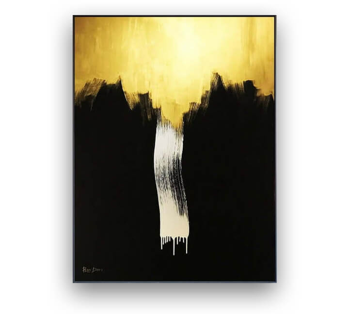 Black & Gold abstract painting by Ron Deri