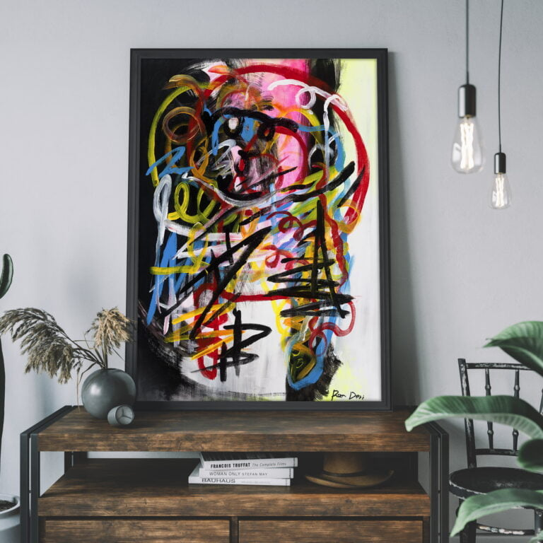 colourful abstract line work for sale by ron deri