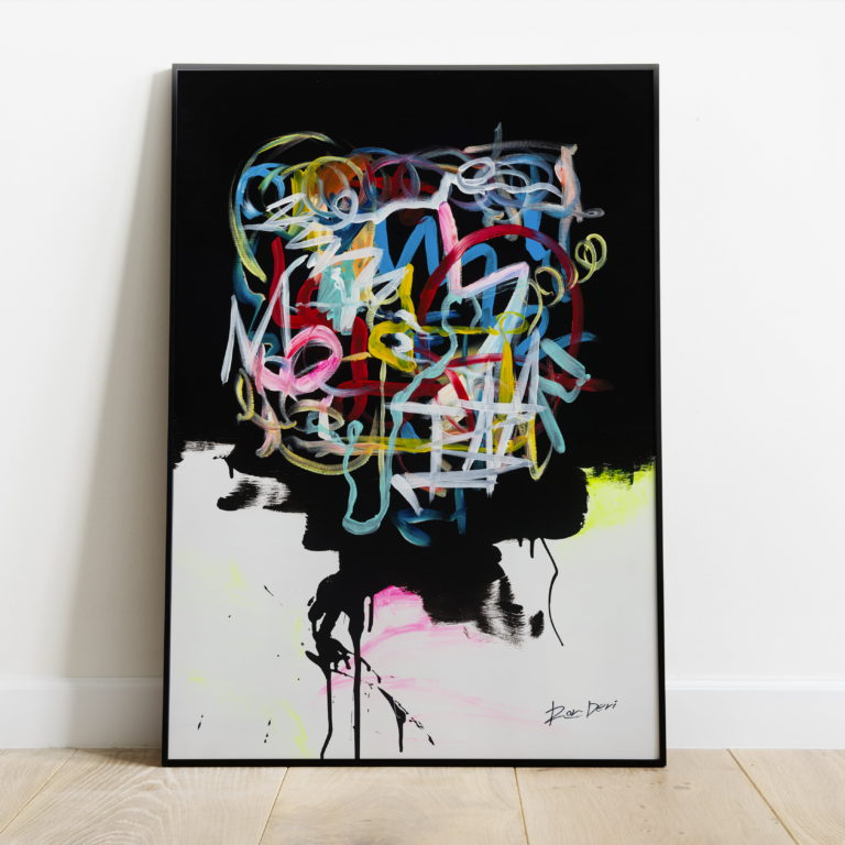 Human brain abstract canvas art print